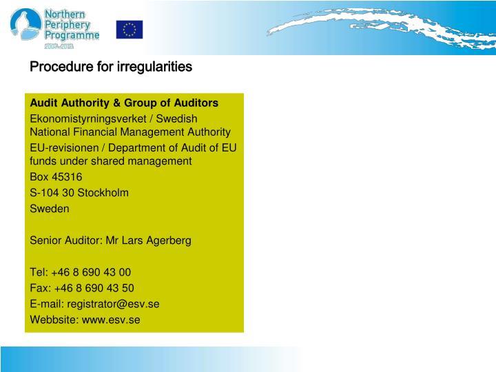 Procedure for irregularities