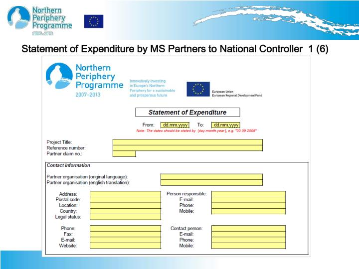 Statement of Expenditure by MS Partners to National Controller  1 (6)