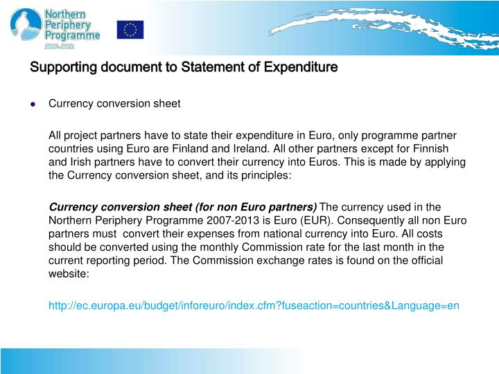 Supporting document to Statement of Expenditure