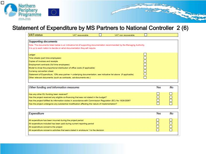 Statement of Expenditure by MS Partners to National Controller  2 (6)