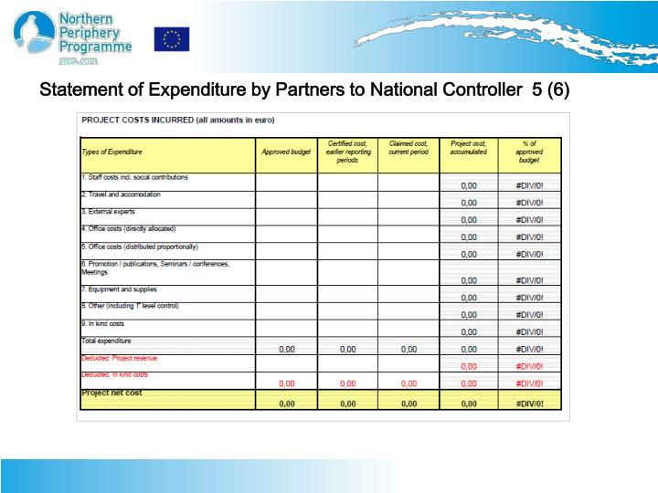Statement of Expenditure by Partners to National Controller  5 (6)