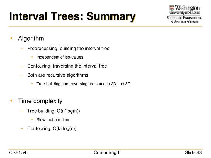 Interval Trees: Summary