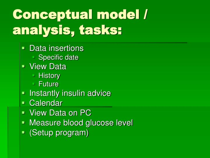 Conceptual model / analysis, tasks: