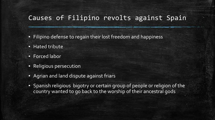 Causes of filipino revolts against spain