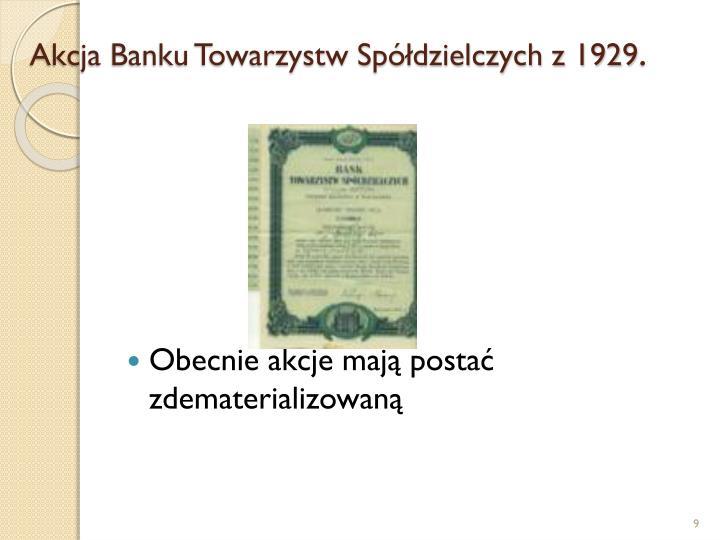 Akcja Banku Towarzystw Spółdzielczych z 1929