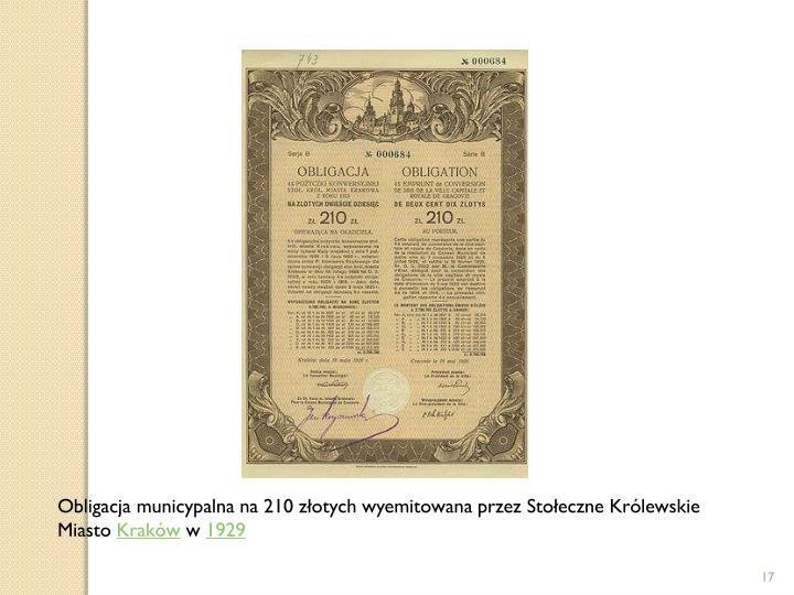 Obligacja municypalna na 210 złotych wyemitowana przez Stołeczne Królewskie Miasto