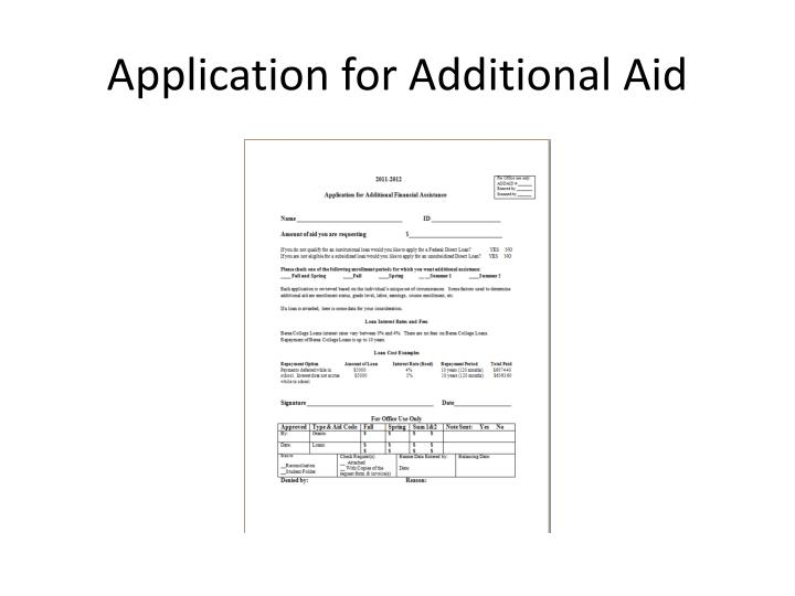 Application for additional aid