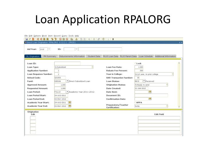 Loan Application RPALORG