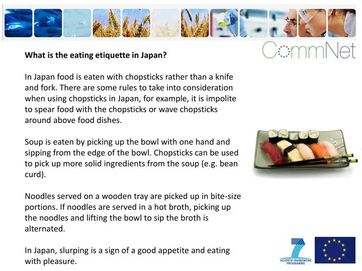 What is the eating etiquette in Japan?