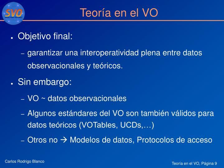 Teoría en el VO