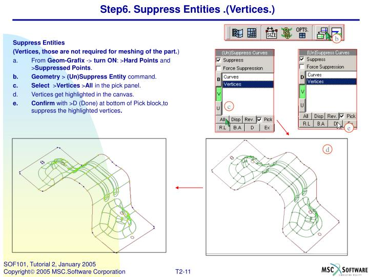 Step6. Suppress Entities .(Vertices.)