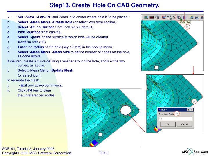Step13. Create  Hole On CAD Geometry.