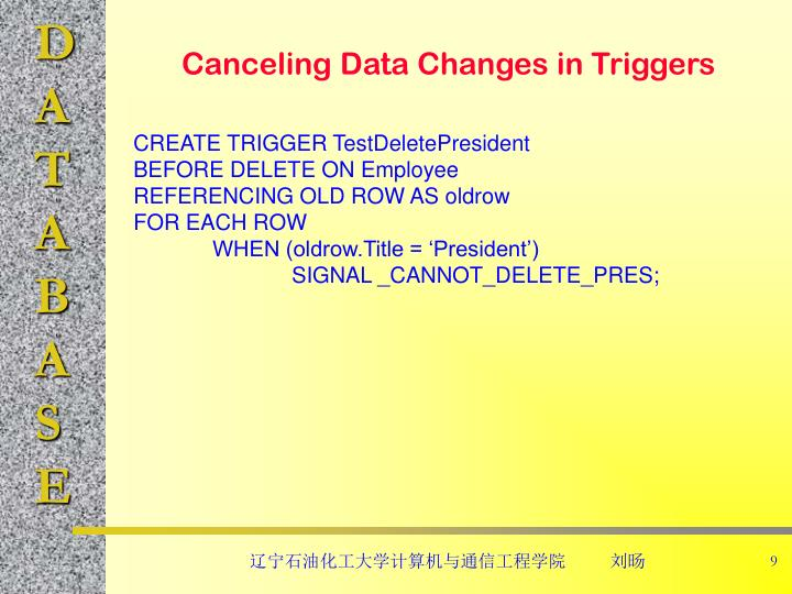 Canceling Data Changes in Triggers