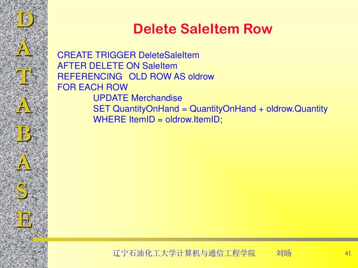 Delete SaleItem Row