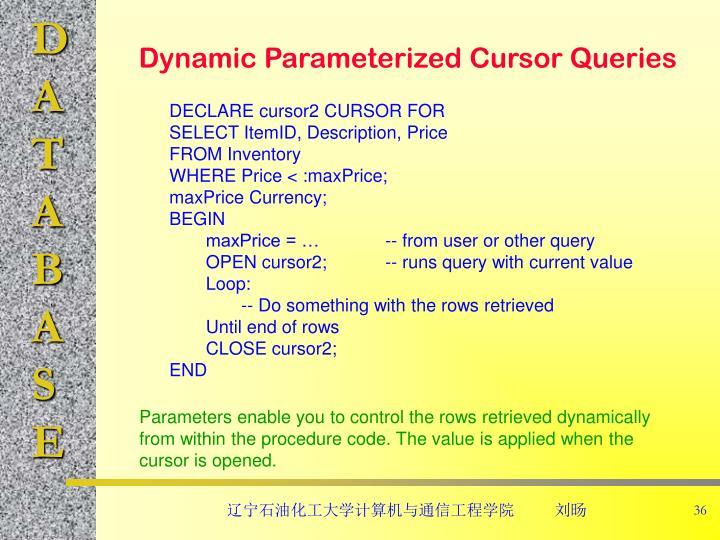 Dynamic Parameterized Cursor Queries