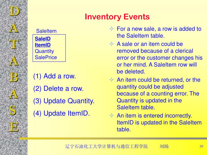 For a new sale, a row is added to the SaleItem table.
