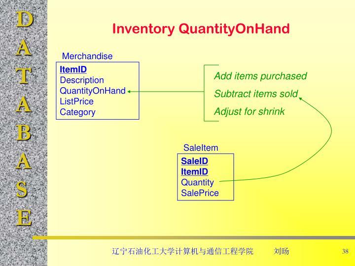 Inventory QuantityOnHand