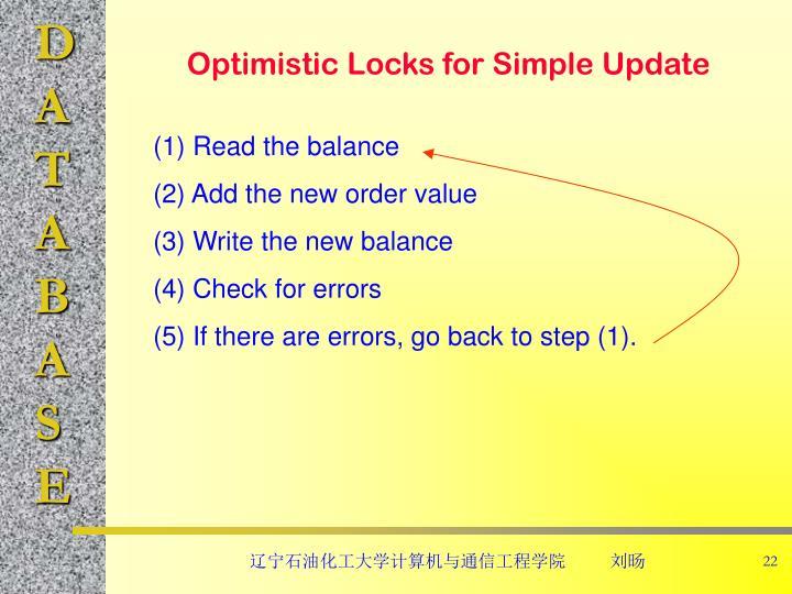 Optimistic Locks for Simple Update