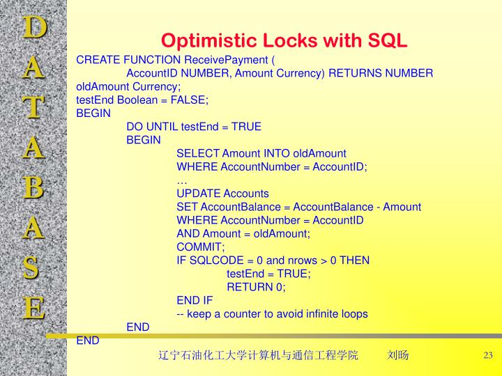 Optimistic Locks with SQL