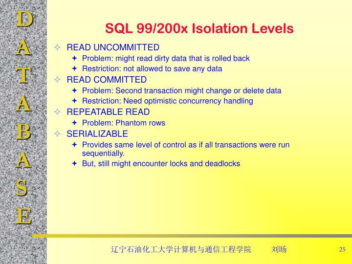 SQL 99/200x Isolation Levels