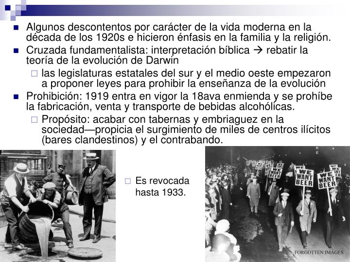 Algunos descontentos por carácter de la vida moderna en la década de los 1920s e hicieron énfasis en la familia y la religión.