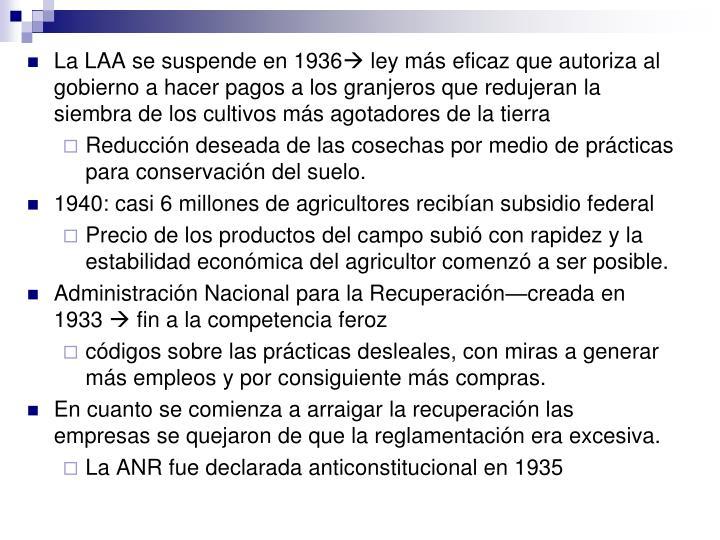 La LAA se suspende en 1936