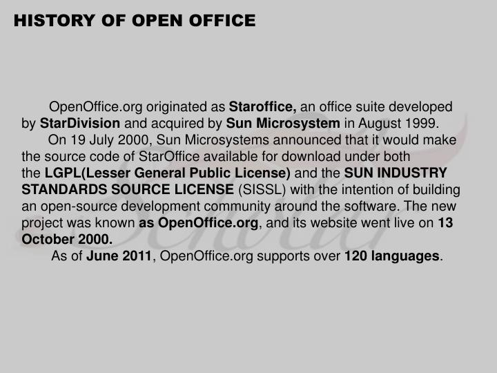HISTORY OF OPEN OFFICE