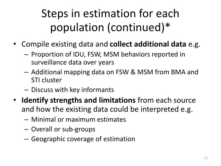 Steps in estimation for each population (continued)*