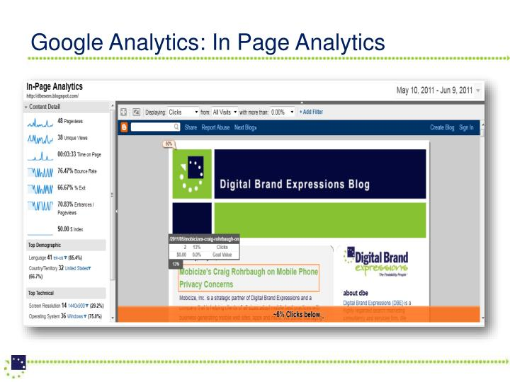 Google Analytics: In Page Analytics