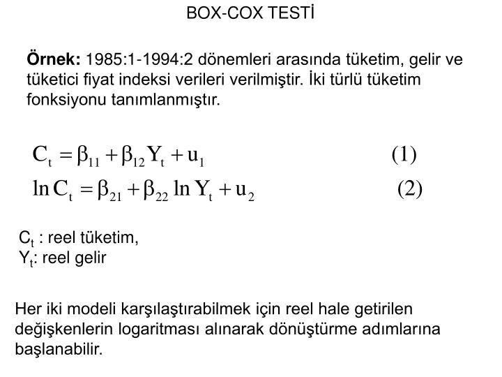 BOX-COX TEST