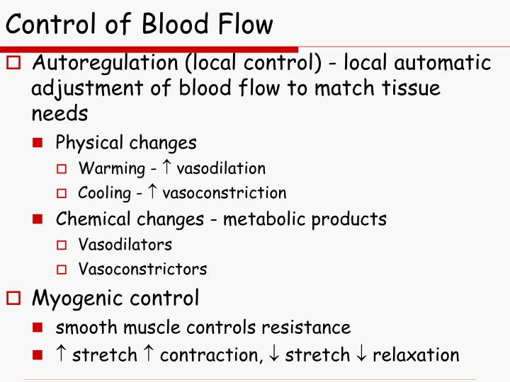 Control of Blood Flow