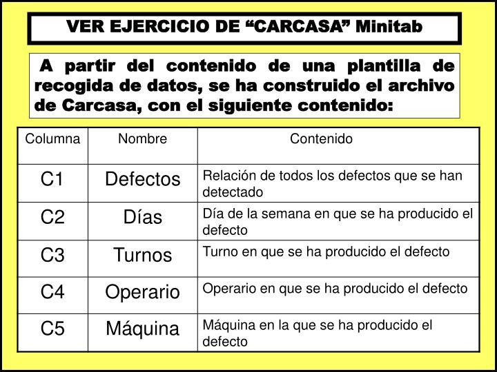 """VER EJERCICIO DE """"CARCASA"""" Minitab"""