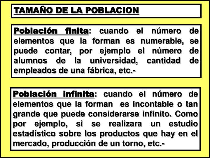 TAMAÑO DE LA POBLACION