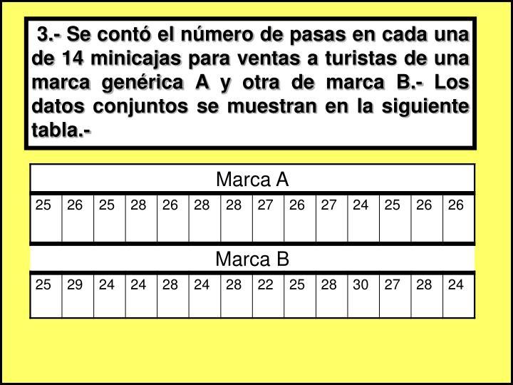 3.- Se contó el número de pasas en cada una de 14 minicajas para ventas a turistas de una marca genérica A y otra de marca B.- Los datos conjuntos se muestran en la siguiente tabla.-