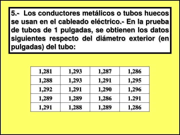 5.-  Los conductores metálicos o tubos huecos se usan en el cableado eléctrico.- En la prueba de tubos de 1 pulgadas, se obtienen los datos siguientes respecto del diámetro exterior (en pulgadas) del tubo: