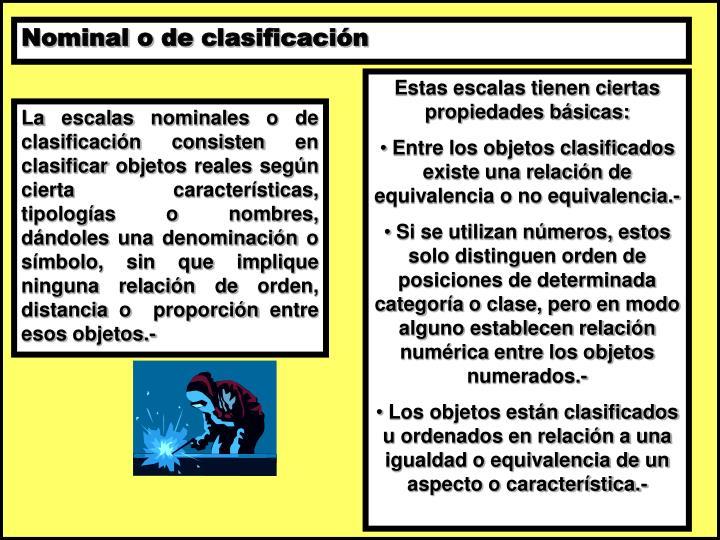 Nominal o de clasificación