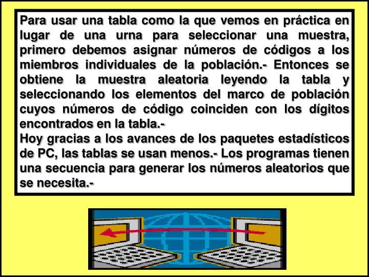 Para usar una tabla como la que vemos en práctica en lugar de una urna para seleccionar una muestra, primero debemos asignar números de códigos a los miembros individuales de la población.- Entonces se obtiene la muestra aleatoria leyendo la tabla y seleccionando los elementos del marco de población cuyos números de código coinciden con los dígitos encontrados en la tabla.-