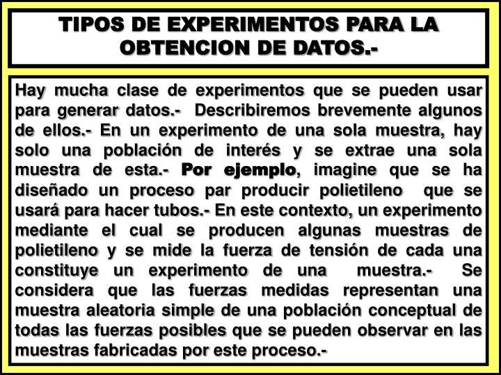 TIPOS DE EXPERIMENTOS PARA LA OBTENCION DE DATOS.-