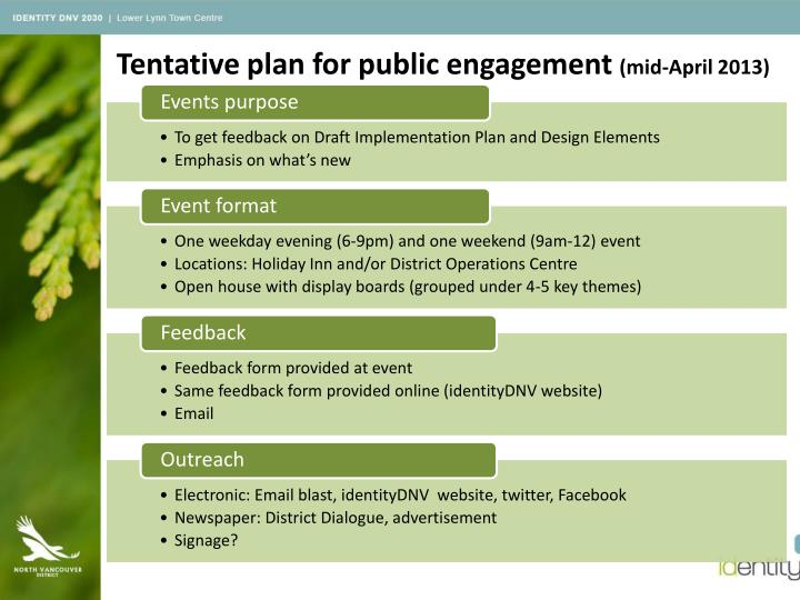 Tentative plan for public engagement