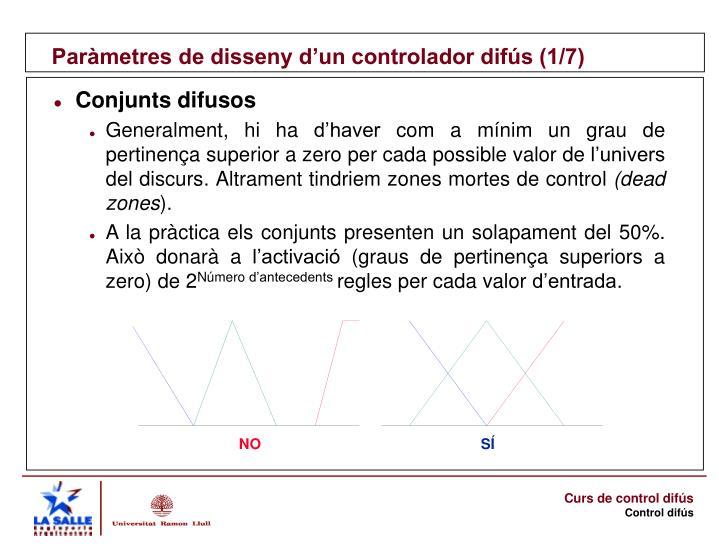 Paràmetres de disseny d'un controlador difús (1/7)