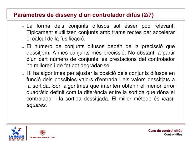 Paràmetres de disseny d'un controlador difús (2/7)