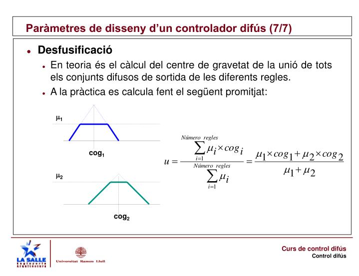 Paràmetres de disseny d'un controlador difús (7/7)