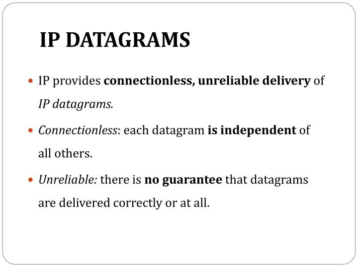 IP DATAGRAMS