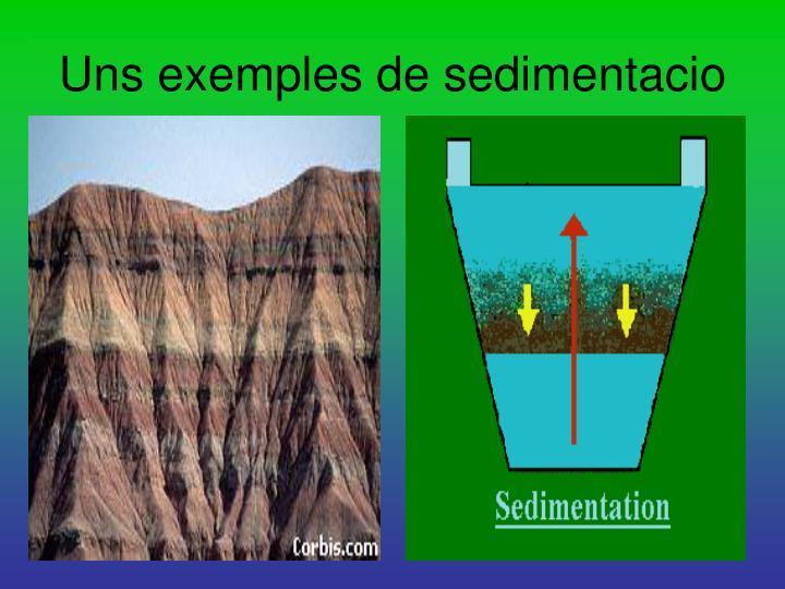 Uns exemples de sedimentacio