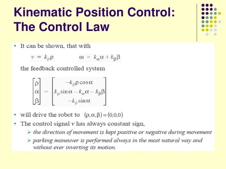 Kinematic Position Control: The Control Law