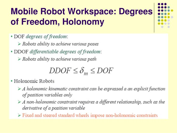 Mobile Robot Workspace: Degrees of Freedom, Holonomy