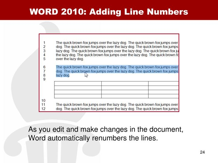 WORD 2010: Adding Line Numbers