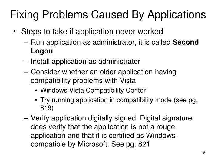 Fixing Problems Caused By Applications