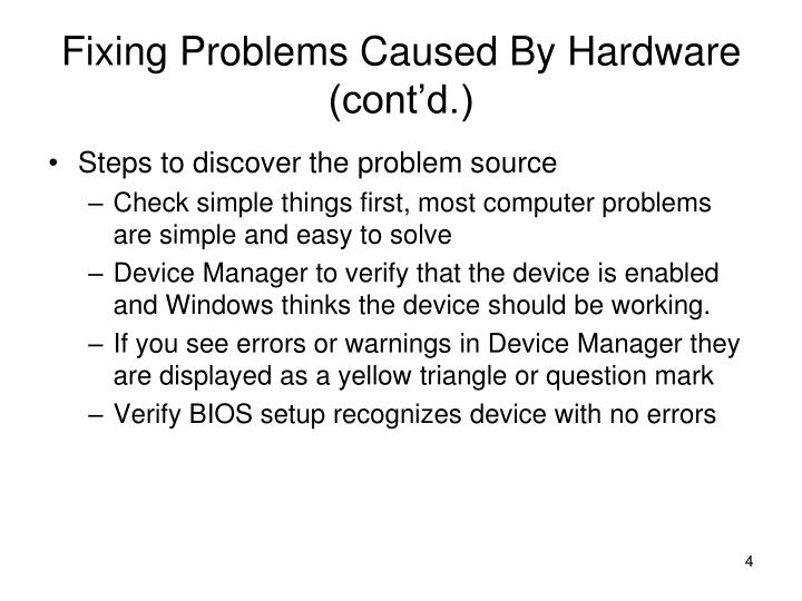Fixing Problems Caused By Hardware (cont'd.)