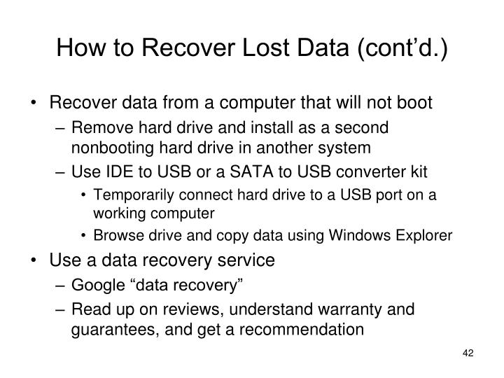 How to Recover Lost Data (cont'd.)